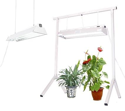 Durolux T5 Stand Rack | Grow Kit (1 Rack + 2 2-Bulb 2FT Grow Fixtures, LED  White Bulbs)