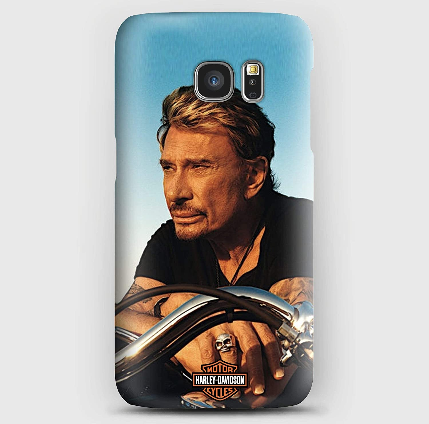 Johnny Hallyday en Harley Coque Samsung S5, S6, S7, S8,S9, A3, A5, A7,A8, J3,J5, Note 4, 5, 8,9, Grand prime,