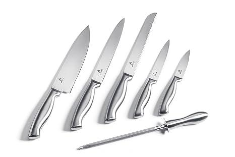 Ashlar Kitchen Knives   Set Of 5 Best Commercial Grade Stainless Steel  Dishwasher Safe Knives Including
