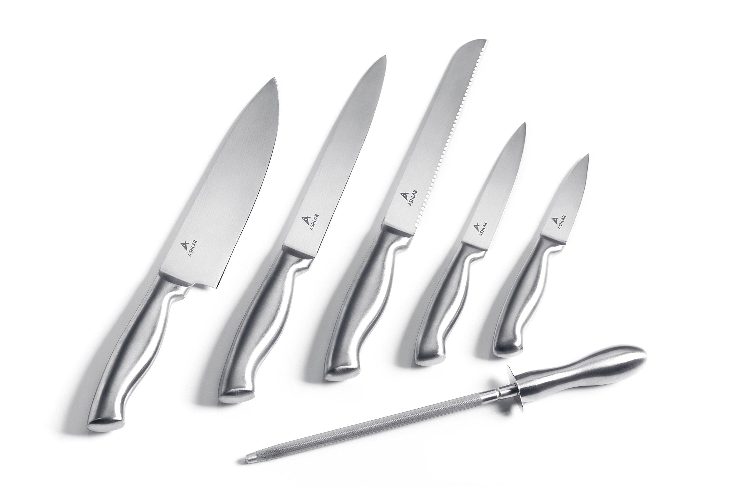 Kitchen Knives - Stainless Steel Dishwasher Safe Set of 5 Knives plus Rod Sharpener by Ashlar