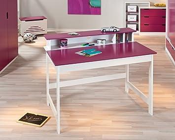 Comforium bureau chambre enfant blanc rose magenta amazon