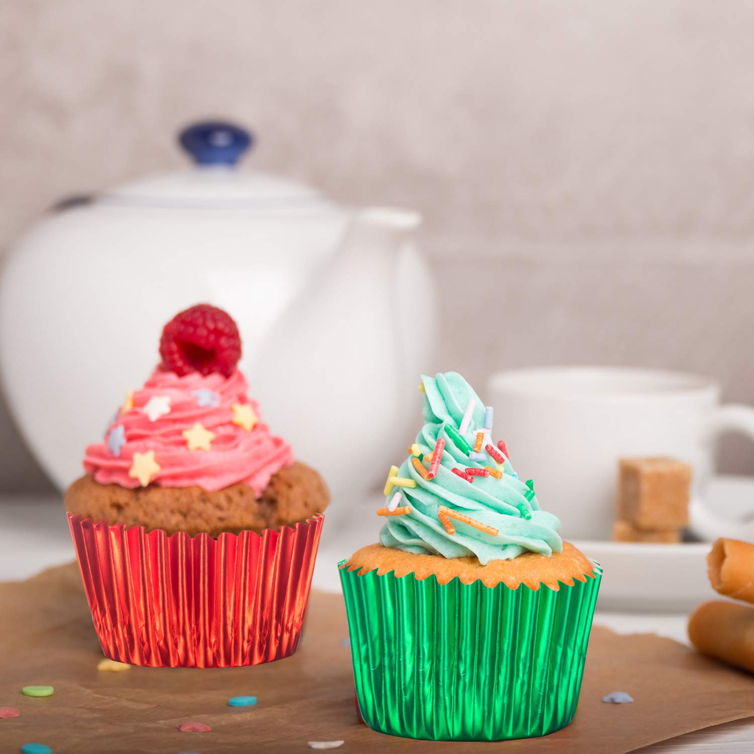 Sumind 10 Colors Paper Baking Cups Foil Cupcake Liners Muffin Case Decoration Cups (400 Pieces) by Sumind (Image #4)