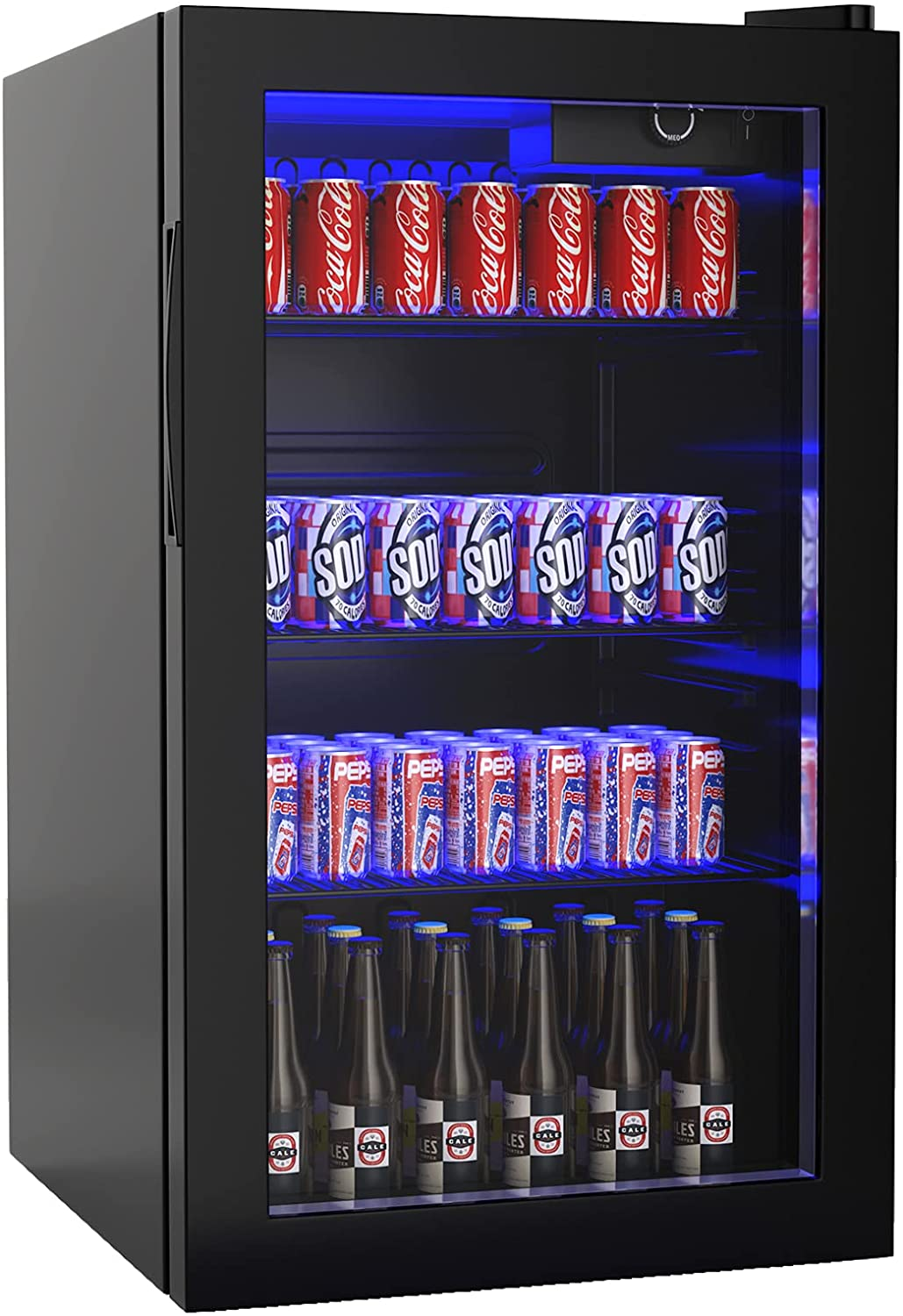 ARLIME Beverage Refrigerator 120 Can Mini Fridge Cooler with Glass Door, Small Drink Dispenser Machine for Office Bar or Home with Adjustable Removable Shelves, 3.2cu.ft.