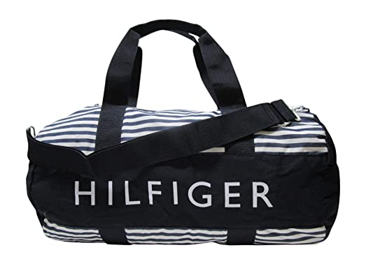 Tommy Hilfiger Large Duffle Bag Tote Bag Luggage Overnight Bag Gym Bag  (Navy / White