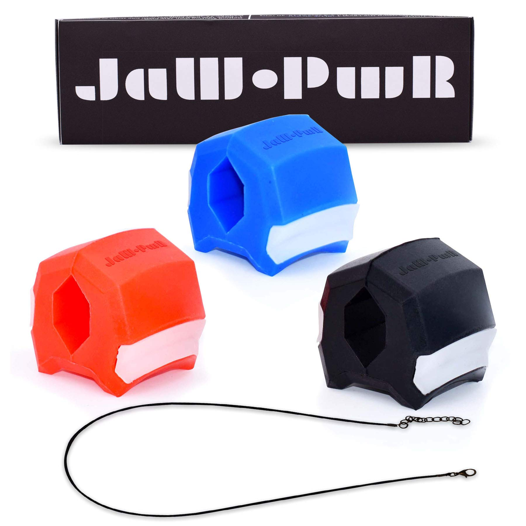 JAW.PWR Jawline, Face and Neck Exerciser for Men and Women (3 Pack - 40, 50, 60 Lbs Resistance), Define your Jawline, Slim and Tone your Face and Neck Muscles to Look Younger - Red, Blue, Black