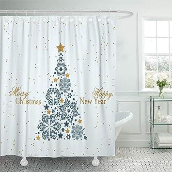 "Christmas Snowflake Stars Waterproof Fabric Bathroom Shower Curtain 71/"" /& Hooks"