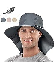 5659dfd70b388 Tirrinia Mens Wide Brim Sun Hat with Neck Flap Fishing Safari Cap for  Outdoor Hiking Camping