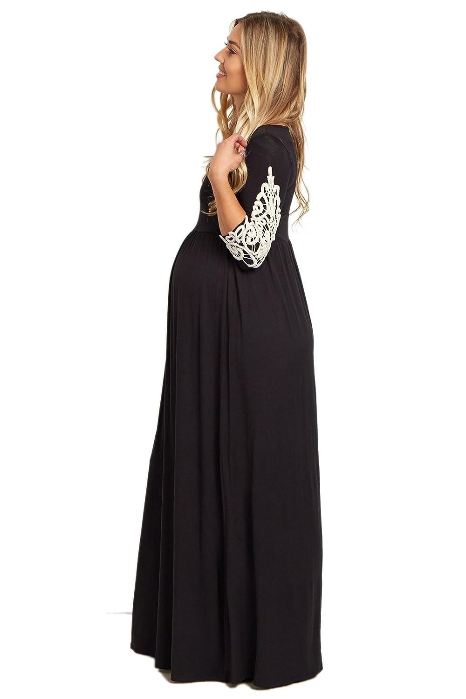 44ba2773aa PinkBlush Maternity Crochet Sleeve Maxi Dress at Amazon Women s Clothing  store