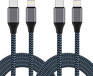 Sundix USB C to iPhone Cable, 2Pack 6FT Nylon Braided Charging Syncing Cord Compatible with iPhone 11/11Pro/11Pro MAX/XS/XS MAX/XR/X/8/8Plus/7/7Plus and More(Use with Type C Charger)
