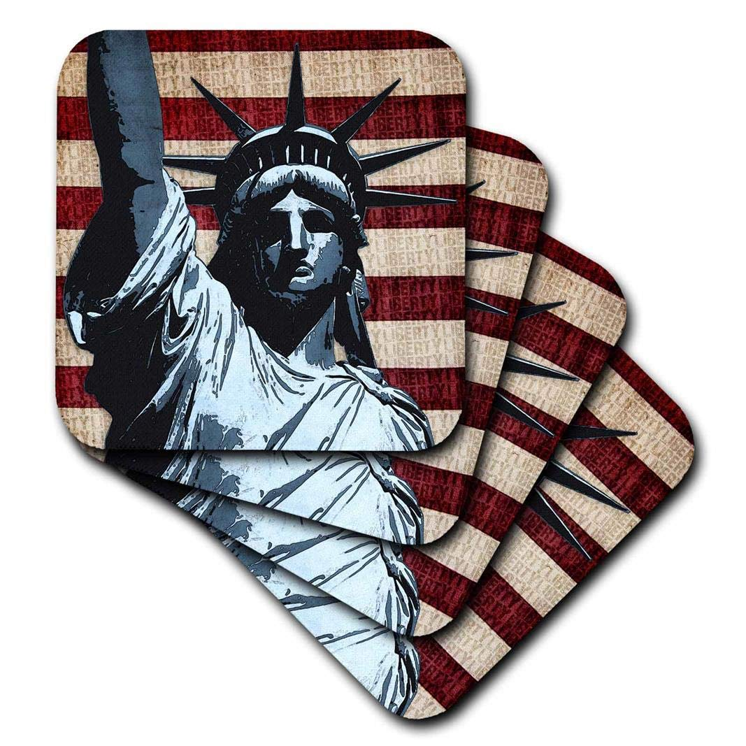 Set of 4 3dRose CST/_21925/_3 Liberty Flag Patriotic Statue of Liberty with American Flag /& Liberty Text Ceramic Tile Coaster
