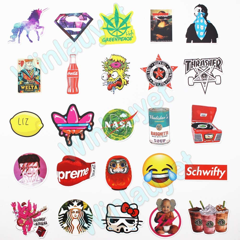 Winlauyet 100pcs PVC Stickers Laptop Auto Skateboard Luggage Car Bike Logo Fridge Stickers Design-A