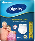 """Dignity Premium Pull Ups Adult Diapers Large- Extra Large 10 Pcs, Waist Size 34""""- 59"""", (Pack of 1)"""
