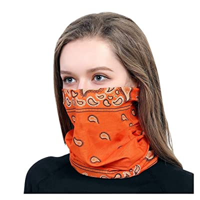 WEISUN Face Cover Magic Scarf Outdoor Headwear Bandana Sports Tube UV Face Cover for Workout Yoga Running Orange: Clothing