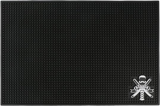 Image ofBarber Station Mat, alfombra de mesa roja para salón de belleza, flexible PVC antideslizante estación de trabajo Pad