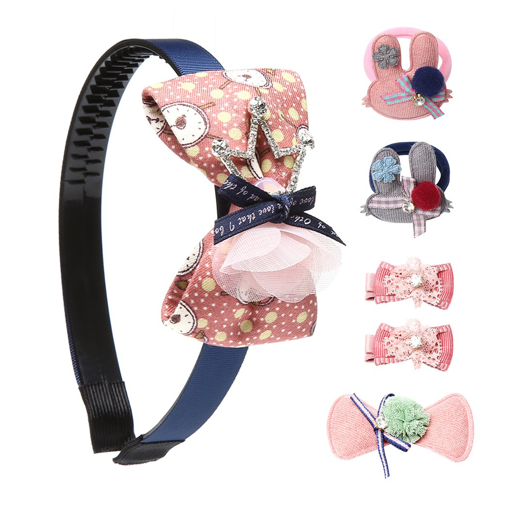 pei luo Girls Fashion Headbands Kit Elastic Ties & Bows Clips Hair Accessories Boutique Bowknot Barrettes-Brown