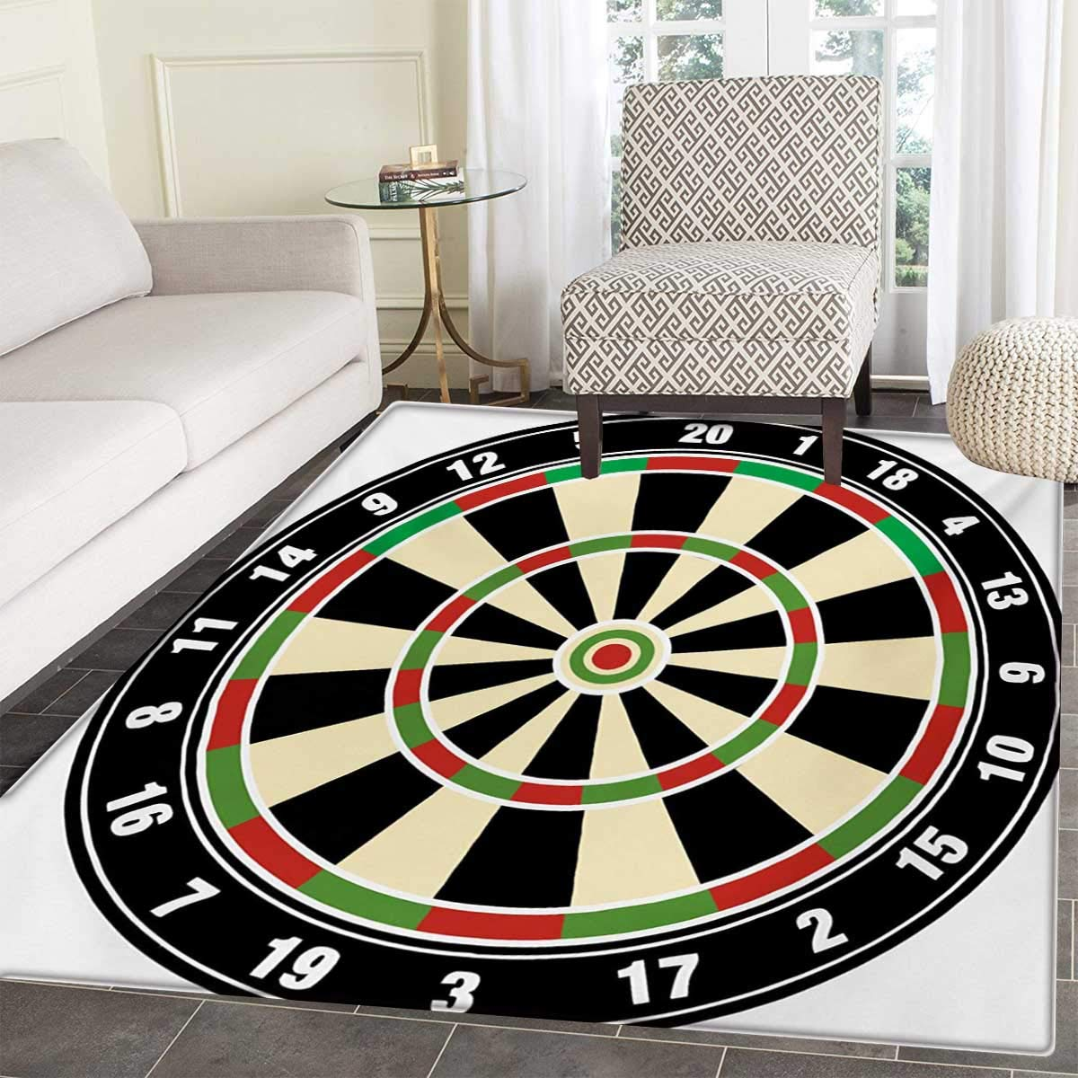 "Sports Door Mats Inside Dart Board Numbers Sports Accuracy Precision Target Leisure Time Graphic Bath Mat tub Bathroom Mat 30""x40"" Vermilion Green Black"