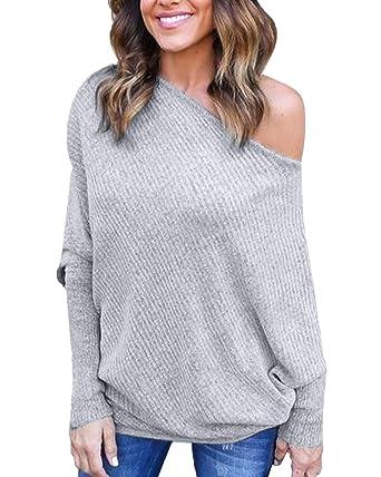 neues überlegene Leistung Online-Verkauf Sweater Damen Große Größen Elegante Langarm One Shoulder ...