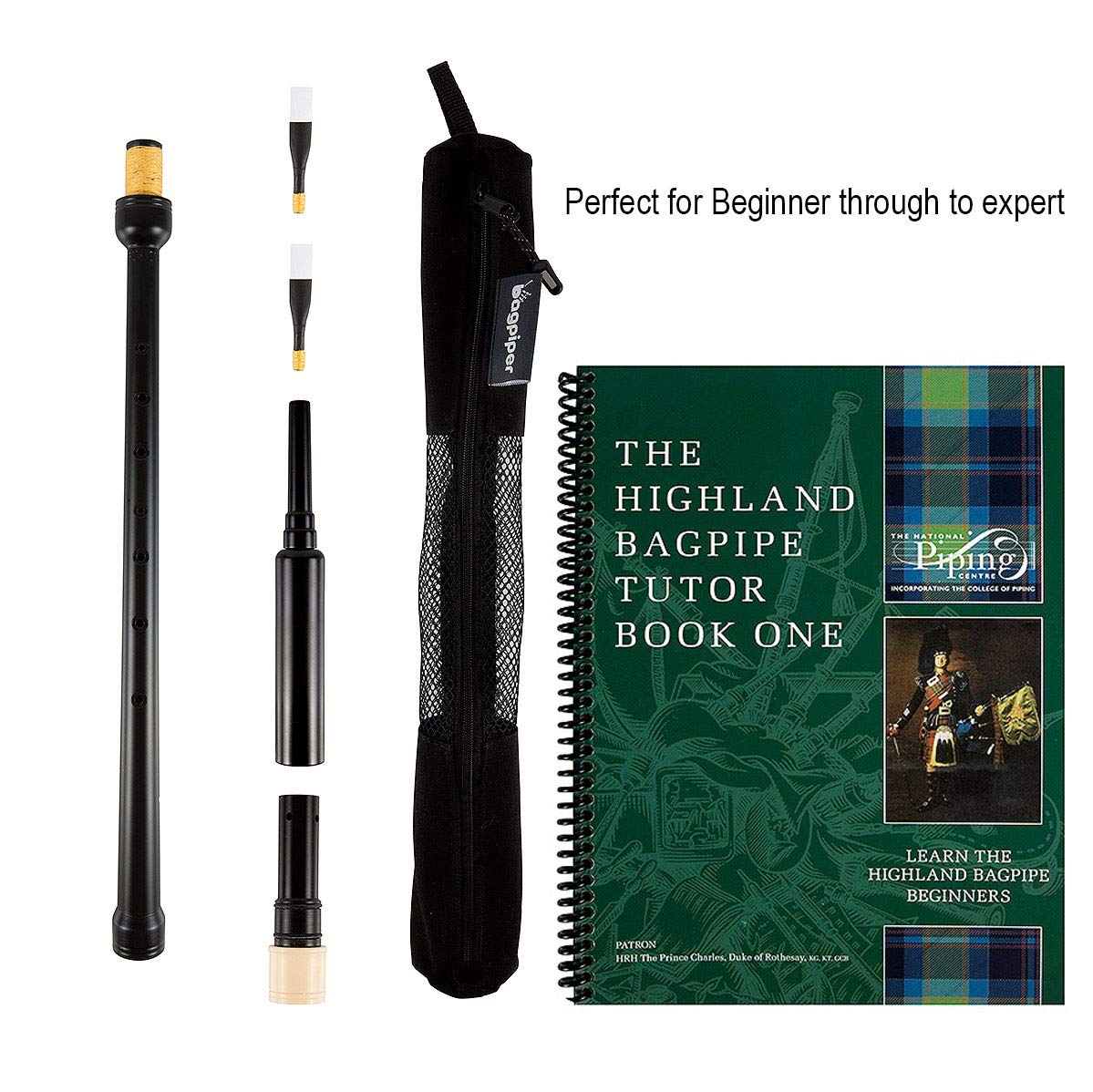 Trutone Long Highland Bagpipe Practice Chanter, The Piping Center of Scotland Tutor Book, Qty 2 Reeds in a Breathable Case, Suitable from Beginner to Expert