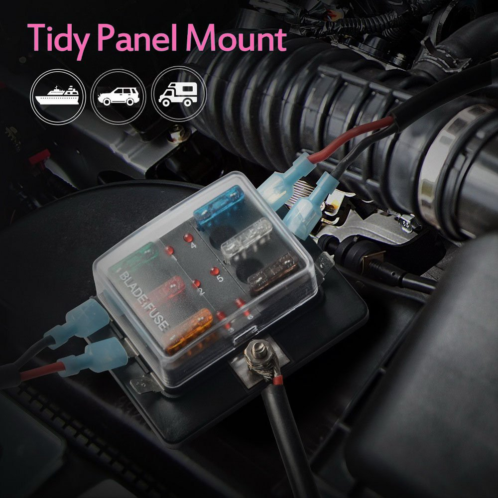Jtron 6 Way Dc 1232v Blade Fuse Box Holder With Led Warning Light Boat Kit For Automotive Car Marine Trike 01023015 Boxes