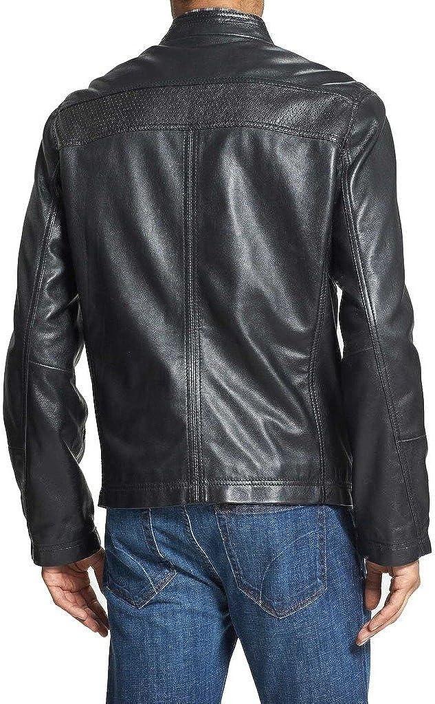Mens Genuine Cow Leather Jacket Slim Fit Moto Biker Jacket LTC549