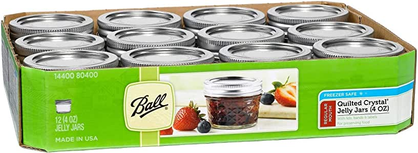 Ball 4-Ounce Quilted Crystal Jelly Regular Mouth Jars with Lids and Bands, Set of 12