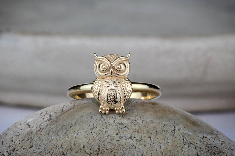 owl ring, gold ring, stack ring, stacking ring, charm ring, animal ring, owl jewelry, symbol ring, wisdom ring, protection ring