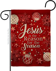 Nativity Jesus is the Reason Burlap Garden Flag Winter Three King Religious Holy Family Season Wintertime Christian Small Decorative Gift Yard House Banner Double-Sided Made In USA 13 X 18.5