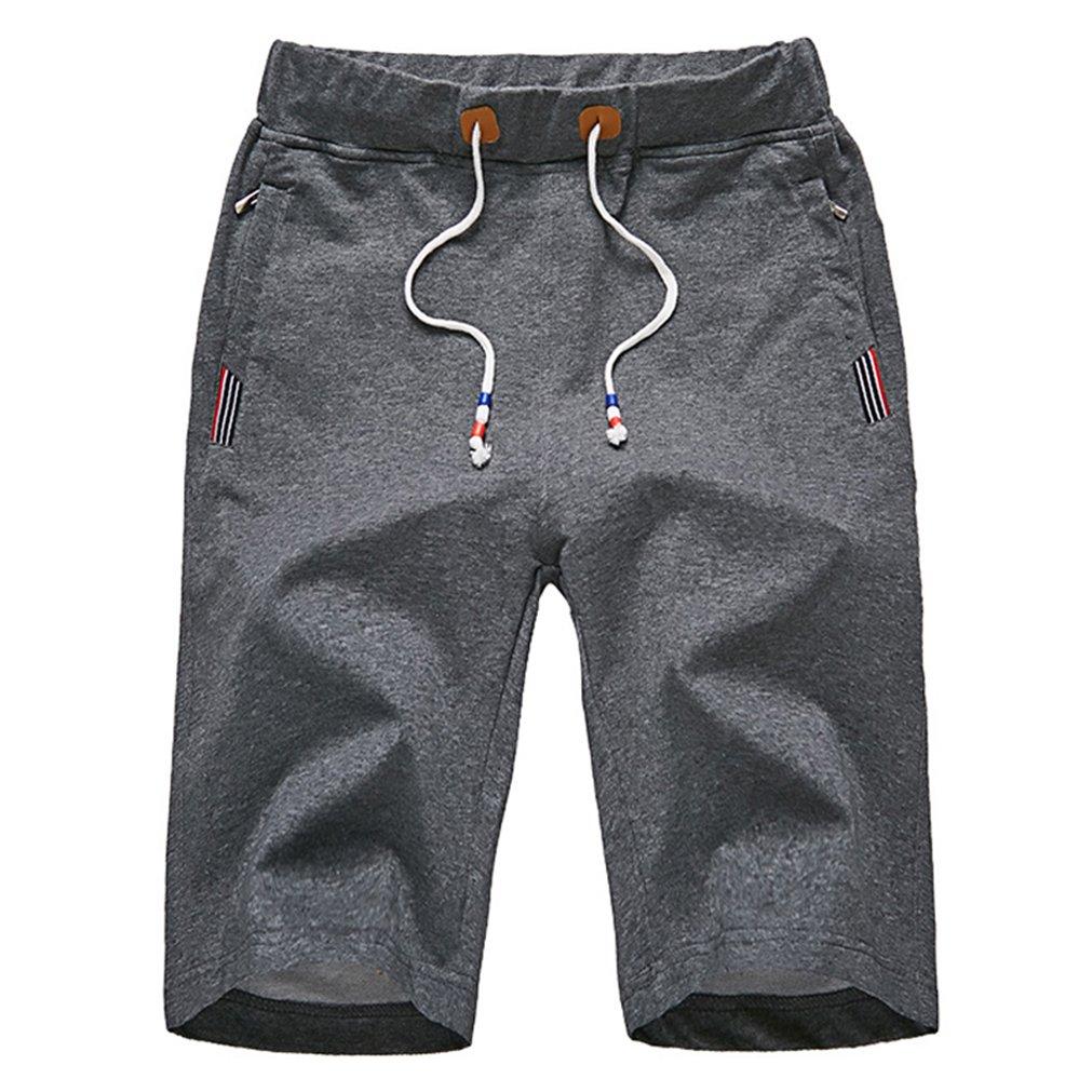 daqinghjxg Men's Shorts Summer Elastic Waist Beach Shorts Cotton Casual Male Brand Clothing Dark Gray 8XL