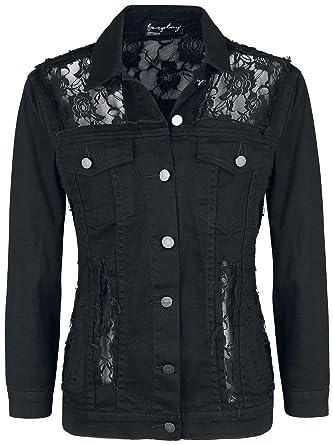 187b103b3b5c Forplay Laced Denim Jacket Girls Jeans Jacket Black XXL: Amazon.co.uk:  Clothing