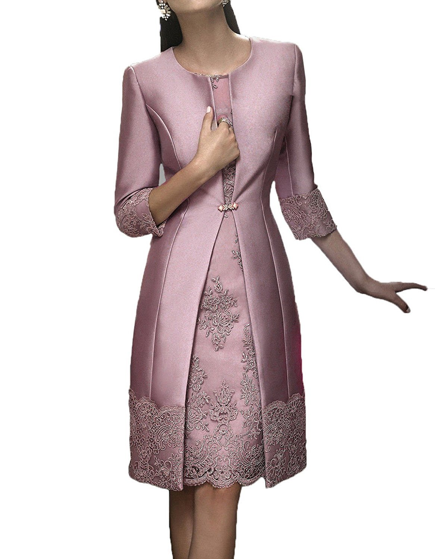 Promworld Women's Scoop Neck Applique Short Mother of the Bride Dress with Jacket Blush US16