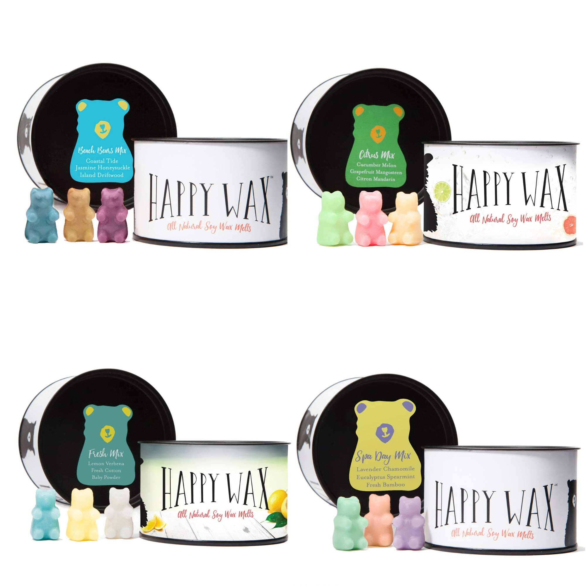 Happy Wax - Four Mixed Tins Wax Melt Sampler Gift Set - Includes 3.6 Oz Each of Our Scented Soy Wax Melts in Our Spa Day Mix, Beach Bears Mix, Citrus Mix, and Fresh Mix! by Happy Wax (Image #2)