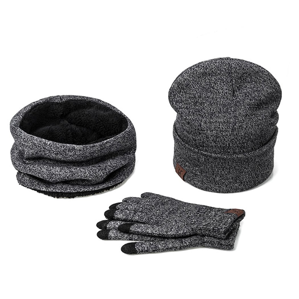 Raylans Unisex Beanie Hat Scarf Touch Screen Gloves 3 Pieces Thick Knit Warm Clothing Set
