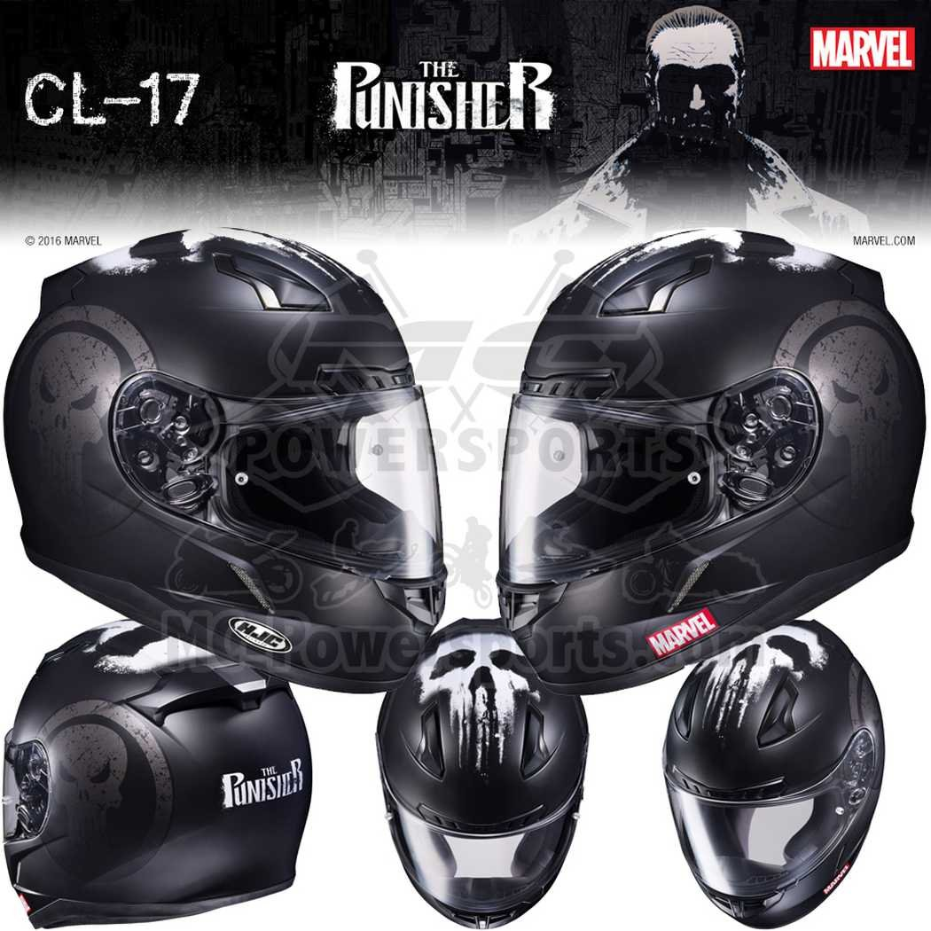 Amazon.com: HJC Marvel The Punisher CL-17 Mens Street Bike Motorcycle Helmet - MC-5F Medium: Automotive