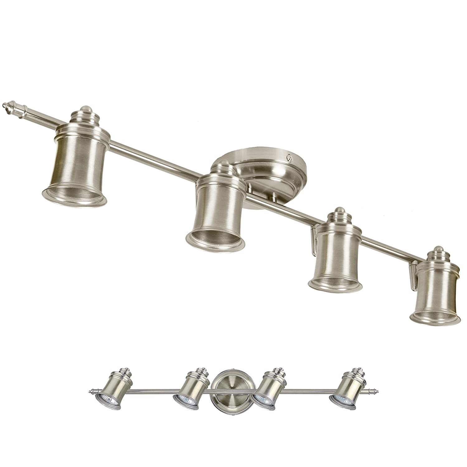 Brushed Nickel Light Track Lighting Ceiling Or Wall Adjustable - Kitchen and bathroom lights