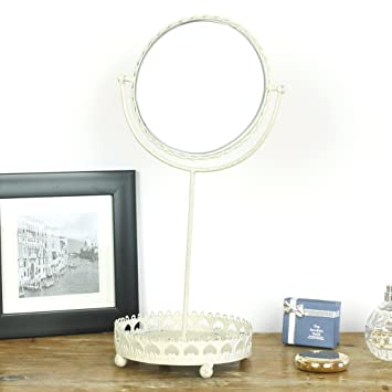Chaise Longue Boutique Tisch Top Swing Spiegel Mit Tablett Schmuckhalter Creme Metall Vintage Shabby Chic