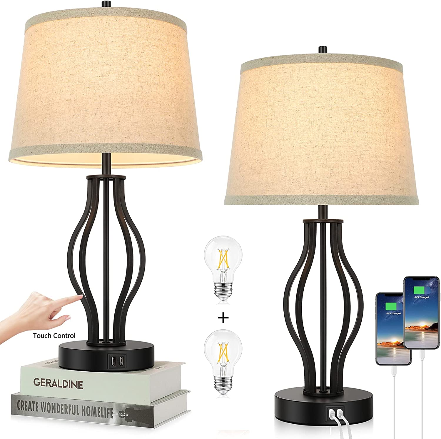 Set of 2 Touch Control 3-Way Dimmable Table Lamps Modern Bedside Lamps with 2 USB Charging Ports Desk Lamps with Openwork Middle & Fabric Shade for Living Room Bedroom Hotel Home Office Bulbs Included
