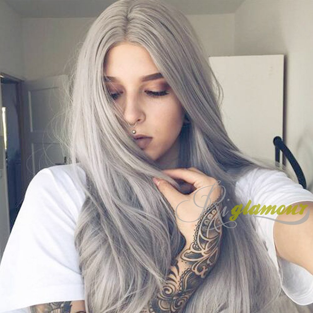 Riglamour Ash Blonde Wig Long Straight Synthetic Lace Front Grey Blonde Hair Middle Part Wigs for Women