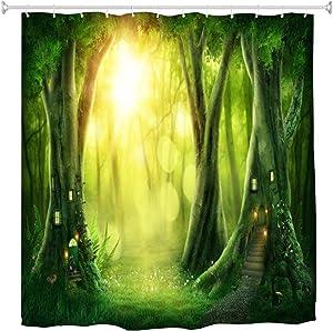 BROSHAN Fantasy Bath Decor Shower Curtain, Spring Nature Mystic Tree House Forest Scene Bathroom Set, Fairy Fabric Waterproof Shower Curtains for Kids Bathroom, 72 inches Long