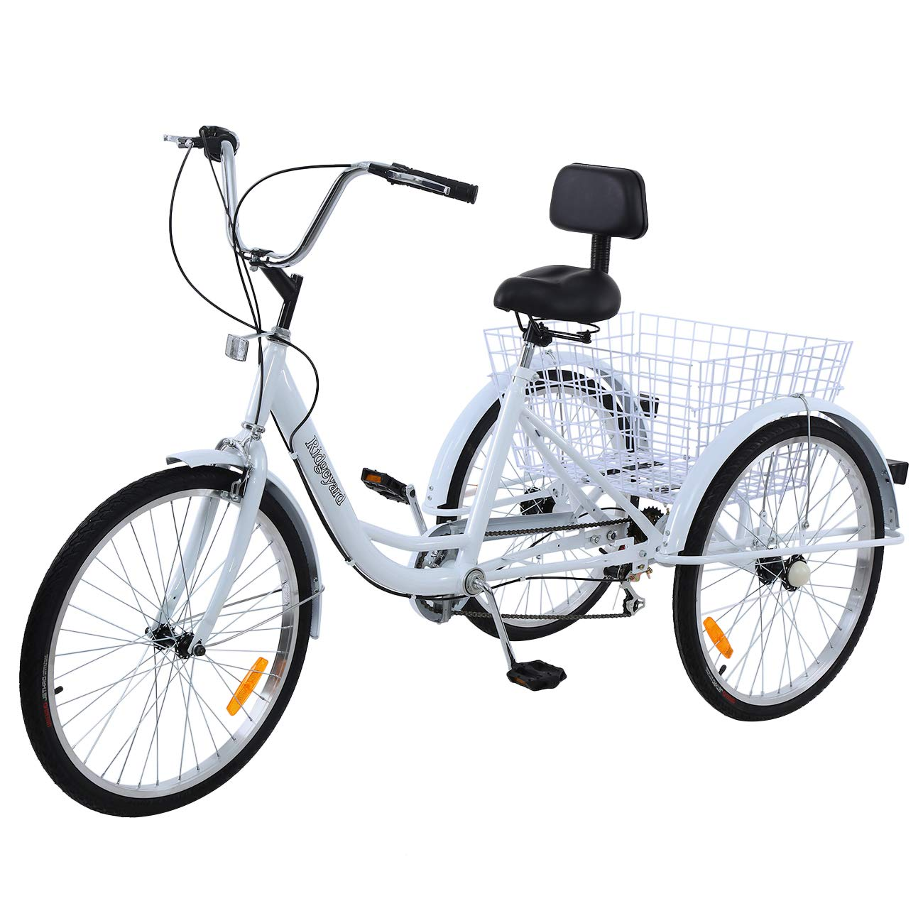 24/'/' 3 Wheel Adult Tricycle Basket Trike Cruise 300LBS 7 speed