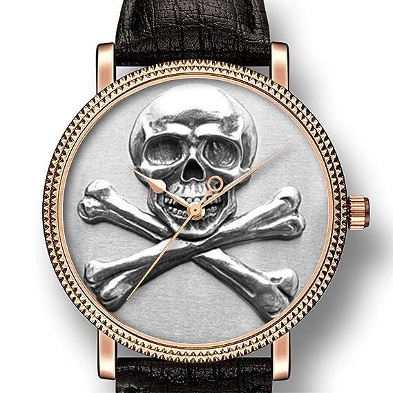 Reloj de Cuarzo para Hombre, Estilo Informal, con diseño de Calavera y Huesos Cruzados: Amazon.es: Relojes