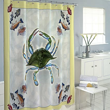 Amazon Betsy Drake SH004B Blue Crab Fish Shower Curtain Home