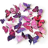 Set 12pcs 3D Pink Purple Mix Colour Butterfly Wall Stickers Decoration-GF-132-1