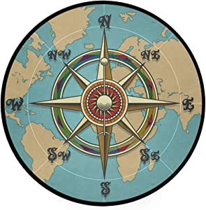 Lmuchen Round Area Rugs Compass Nautical Map Non Slip Carpet Circle Nursery Rug Soft Doormat Shower Gift for Living Room Bedroom Playroom Decor