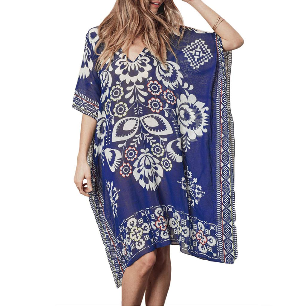 XIAO-WU Womens Summer Chiffon Deep V-Neck Beach Dress Ethnic Retro Geometric Floral Printed Bikini Cover Up Semi Sheer Oversized Loose Pullvoer Tops by XIAO-WU