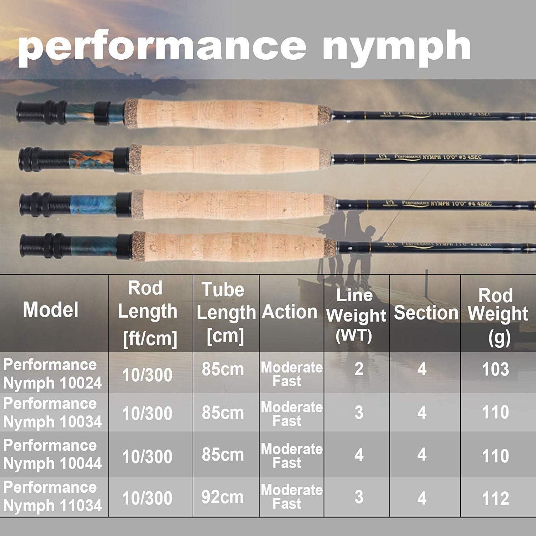 MAXIMUMCATCH Nymph Fliegenrute 4 Teile IM 10 Kohlefaser Fliegenfischen Rute mit Cordura Rutentasche Nymph Angelrute in 2//3//4wt 10FT//11FT