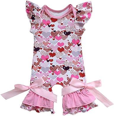 Infant Newborn Baby Girl Heart Print Ruffles Rompers Long Sleeve Bodysuit Outfit