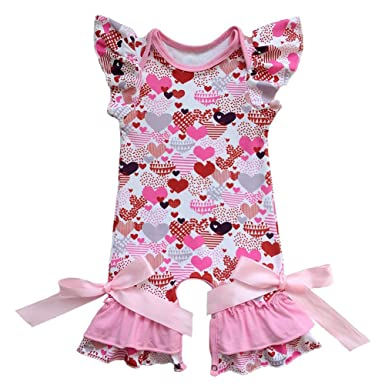 db9a588ef23 IBTOM CASTLE Newborn Baby Girls Ruffle Romper Jumpsuit Long Sleeve  Valentine s Day Love Heart Easter Egg