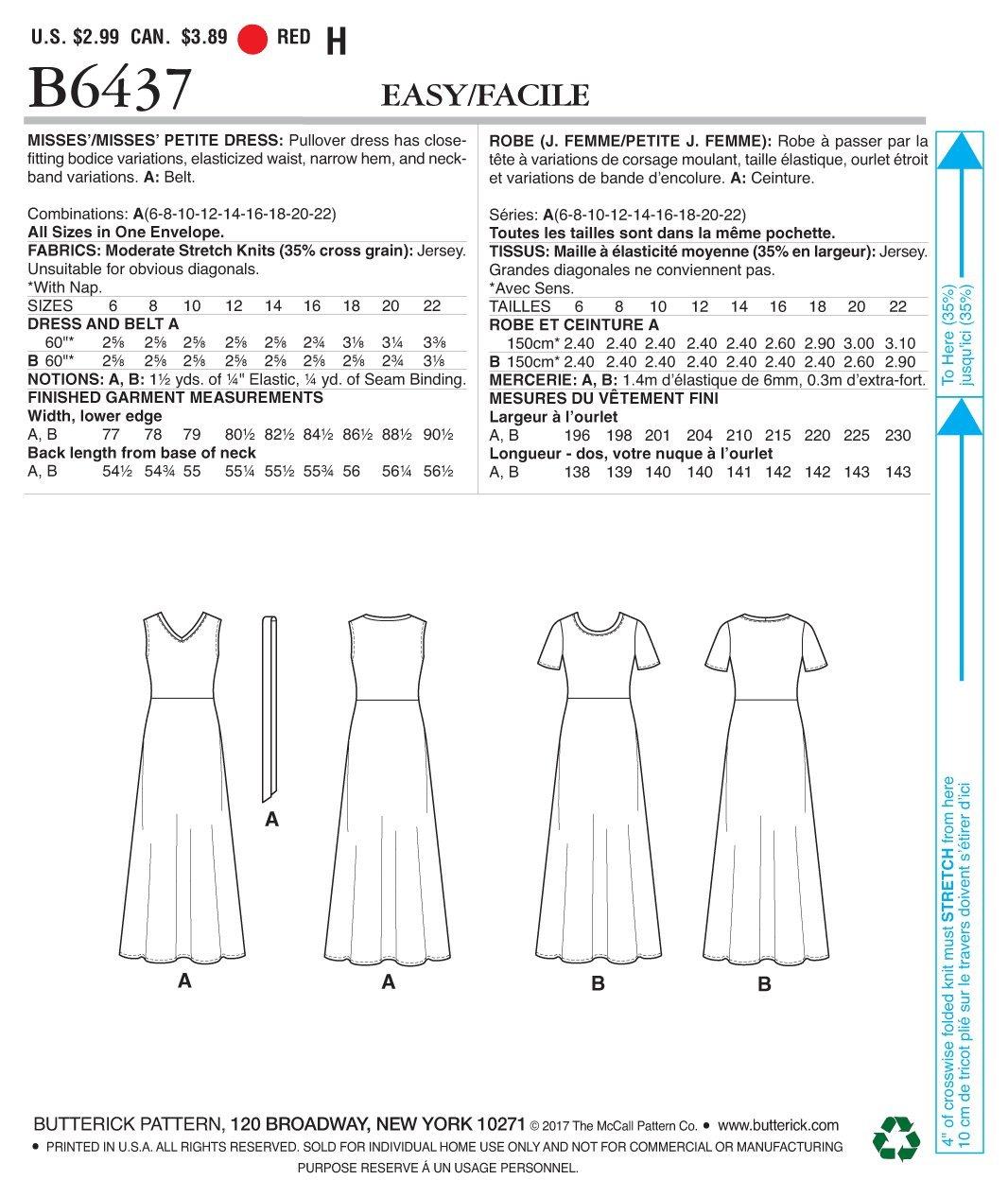 Butterick Patterns Butterick Modello 6437/a cartamodello per Abito e Cintura Multicolore Taglie 6/ /22