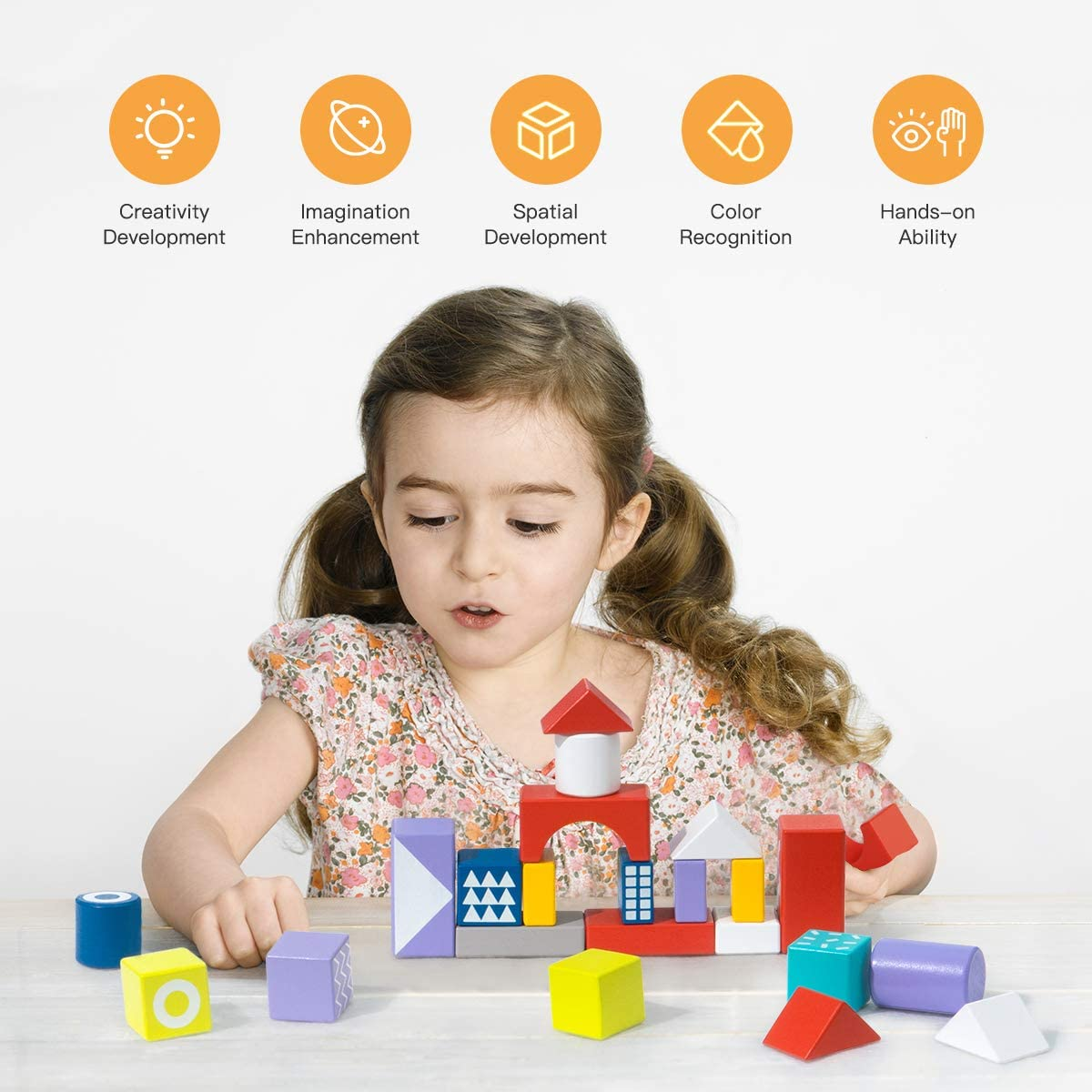 ROBUD Wooden Building Blocks Set for Toddlers Kids Stacking Toy Gift for Boys and Girls Ages 1-8 Years Old 100 PCS