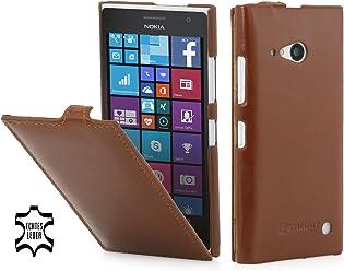 StilGut® UltraSlim, housse en cuir pour Nokia Lumia 730 et Nokia Lumia 735, en cognac